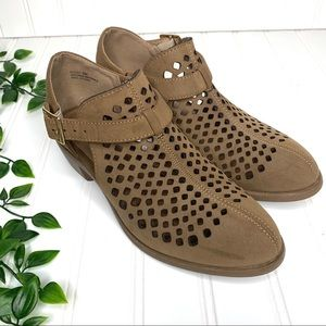 Bella Vita Perforated Laser Cut Out Ankle Booties